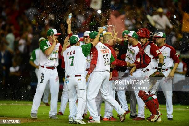TOPSHOT Players of Aguilas de Mexicali from Mexico celebrate their victory over Alazanes de Granma from Cuba in the semifinals of Caribbean Baseball...