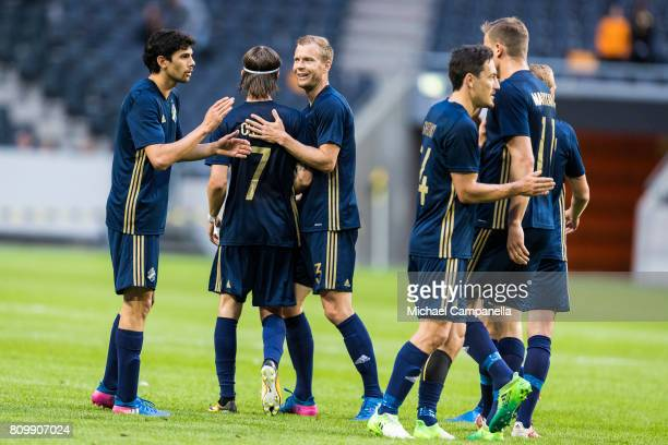 Players of AIK celebrate the 40 goal during a UEFA Europe League qualification match at Friends arena on July 6 2017 in Solna Sweden