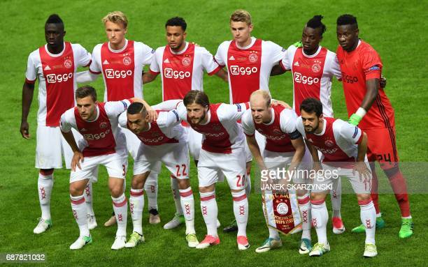 Players of Ajax Amsterdam pose for a team picture prior to the UEFA Europa League final football match Ajax Amsterdam v Manchester United on May 24...