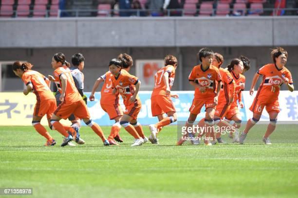 Players of Albirex Nigata make the huddle during the Nadeshiko League match between Albirex Niigata Ladies and INAC Kobe Leonessa at Denka Big Swan...