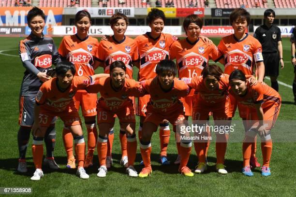 Players of Albirex Nigata pose for photograph prior to the Nadeshiko League match between Albirex Niigata Ladies and INAC Kobe Leonessa at Denka Big...
