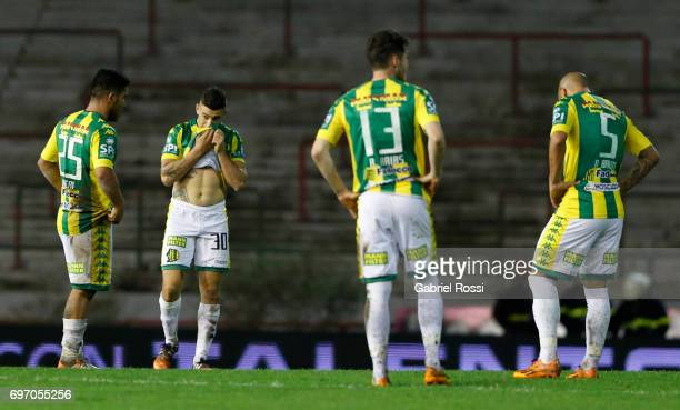 Players of Aldosivi look dejected after losing a match between Aldosivi and Boca Juniors as part of Torneo Primera Division 2016/17 at Jose Maria...
