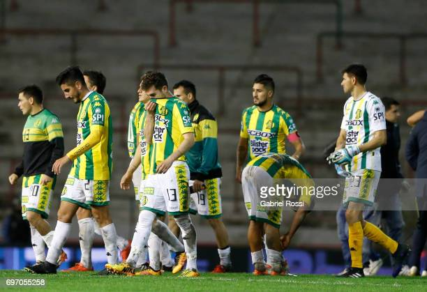 Players of Aldosivi look dejected after losing a match between Aldosivi and Boca Juniors as part of Torneo Primera Division 2016/17 at Jose Maria...