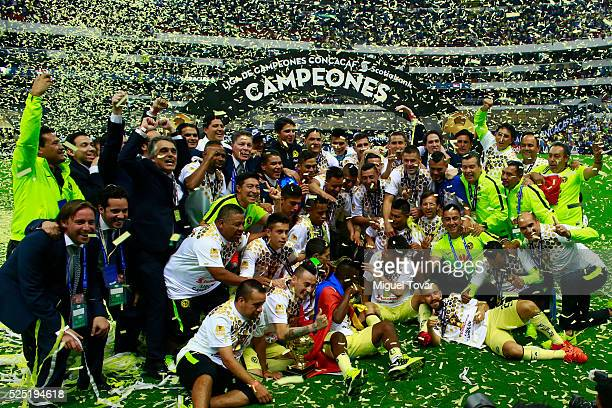 Players of America celebrate after winning the Final second leg match between America and Tigres UANL as part of the Concacaf Champions League 2016...