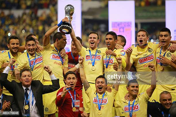 Players of America celebrate their championship after a Final second leg match between America and Tigres UANL as part of the Apertura 2014 Liga MX...