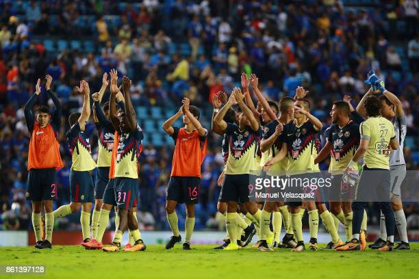Players of America celebrate their victory after the 13th round match between Cruz Azul and America as part of the Torneo Apertura 2017 Liga MX at...