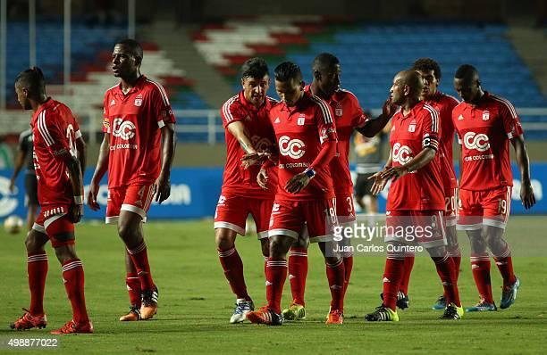 Players of America de Cali walk off the field at half time during a match between America de Cali and Real Cartagena as part of fourth round of...