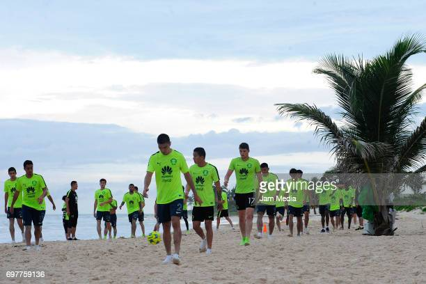 Players of America train in the sand during the Pre Season training for the Torneo Apertura 2017 Liga MX at Playa del Carmen Beach on June 19 2017 in...