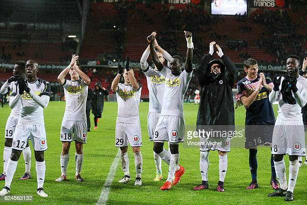 Players of Angers salute their fans at the end of the Ligue 1 match between Stade Rennais and Sco Angers at Stade de la Route de Lorient on November...