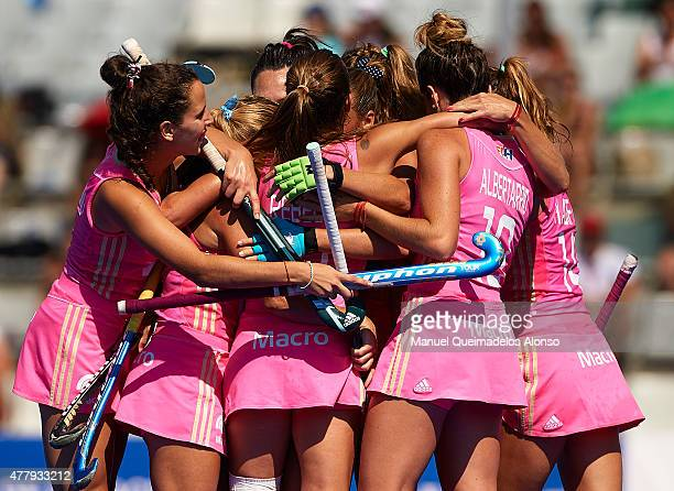 Players of Argentina celebrate after score the first goal during the match between Argentina and China at Polideportivo Virgen del Carmen during day...