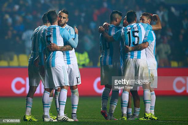 Players of Argentina celebrate after the 2015 Copa America Chile Semi Final match between Argentina and Paraguay at Ester Roa Rebolledo Stadium on...