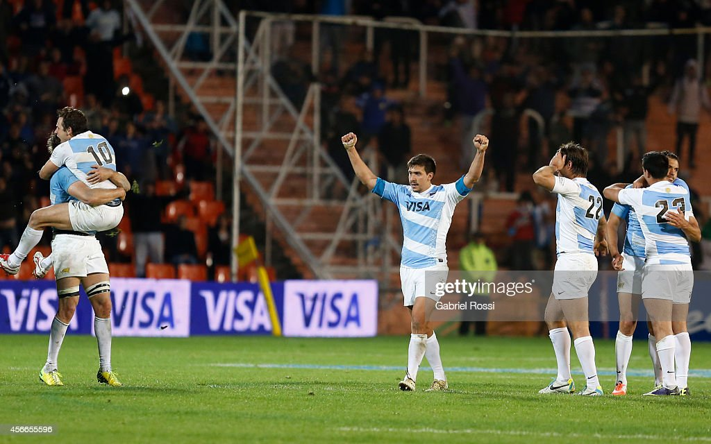 Players of Argentina celebrate after winning a match between Argentina Los Pumas and Australia Wallabies as part of The Rugby Championship 2014 at...