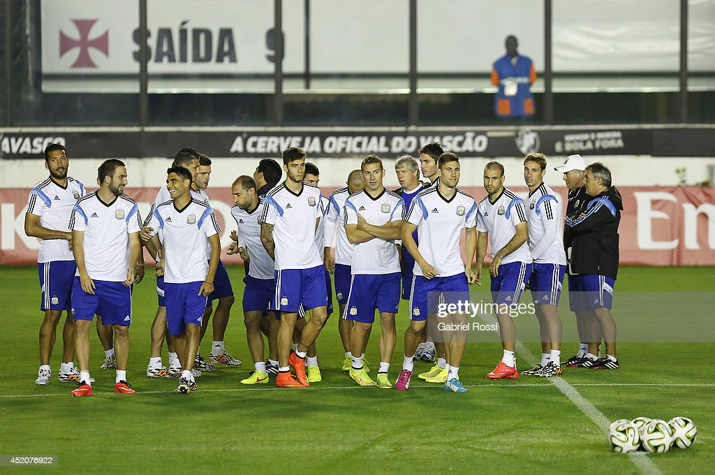 Players of Argentina gather during a training session prior to the World Cup final match between Argentina and Germany at Sao Januario Stadium on July 12, 2014 in Rio de Janeiro, Brazil.