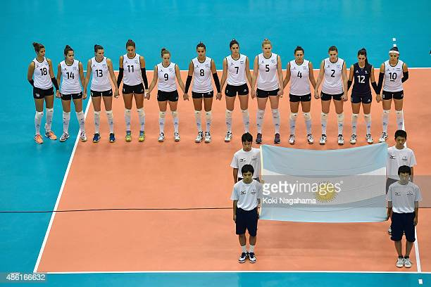 Players of Argentina line up for national anthem before the match against China during the FIVB Women's Volleyball World Cup Japan 2015 at Momotaro...