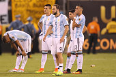 Players of Argentina look dejected after losing the championship match between Argentina and Chile at MetLife Stadium as part of Copa America...