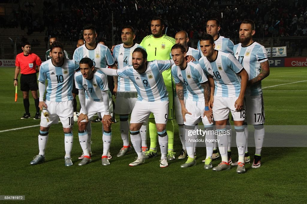 Players of Argentina national football team pose for a photo ahead of a friendly game between Argentina and Honduras at Bicentenario stadium in San Juan, Argentina on May 27, 2016.