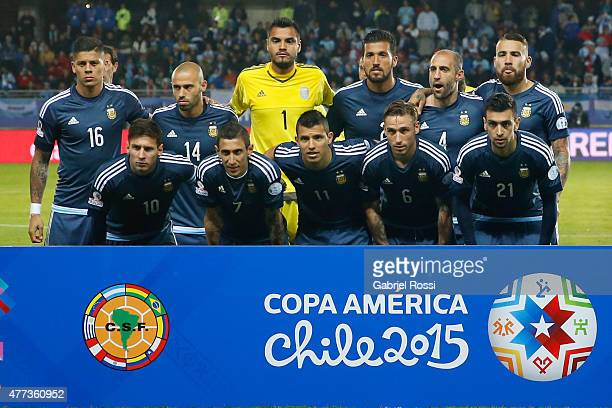 Players of Argentina pose for a team photo prior the 2015 Copa America Chile Group B match between Argentina and Uruguay at La Portada Stadium on...