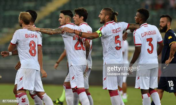 Players of AS Bari celebrate the victory after the TIM Cup match between AS Bari and Parma Calcio at Stadio San Nicola on August 6 2017 in Bari Italy