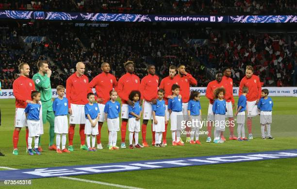 Players of AS Monaco pose before the French Cup SemiFinal match between Paris SaintGermain and As Monaco at Parc des Princes on April 26 2017 in...