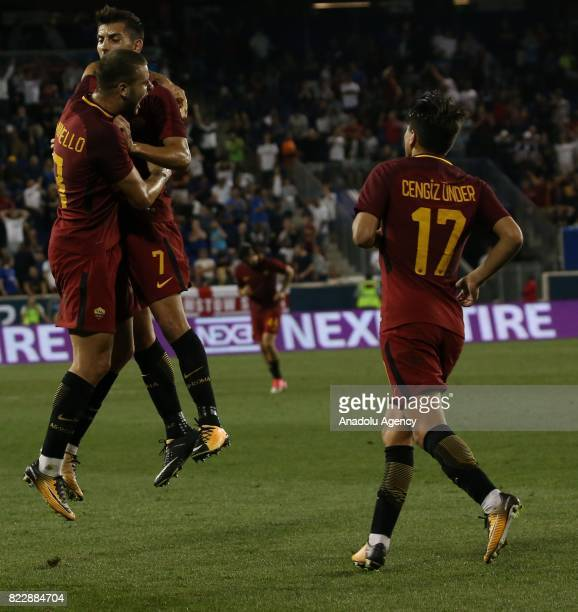 Players of AS Roma celebrate after scoring a goal during a friendly match between AS Roma and Tottenham Hotspur within International Champions Cup...