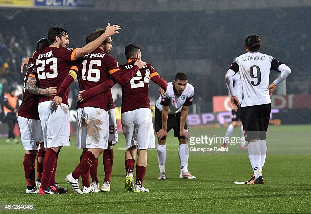 Players of AS Roma celebrate the victory after the Serie A match between AC Cesena and AS Roma at Dino Manuzzi Stadium on March 22 2015 in Cesena...