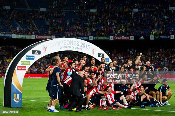 Players of Athletic Club pose with the Spanish Super Cup trophy after the Spanish Super Cup second leg match between FC Barcelona and Athletic Club...