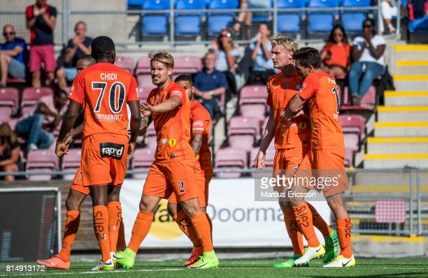 Players of Athletic FC Eskilstuna celebrates with Ludvig Ohman Silwerfeldt after the victory during the Allsvenskan match between Athletic FC...