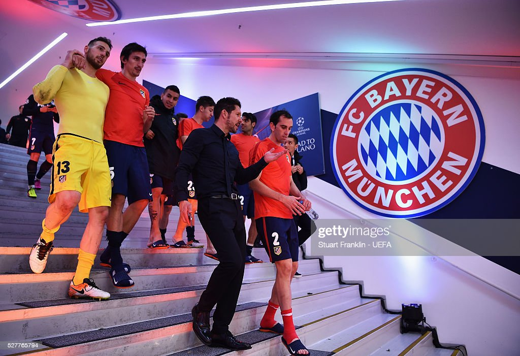 Players of Athletico celebrate at the end of the UEFA Champions League Semi Final second leg match between FC Bayern Muenchen and Club Atletico de Madrid at the Allianz Arena on May 03, 2016 in Munich, Bavaria.