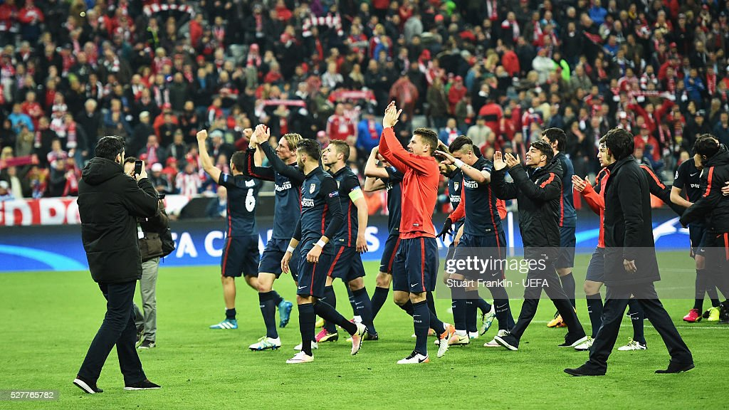 Players of Athletico celebrates at the end of the UEFA Champions League Semi Final second leg match between FC Bayern Muenchen and Club Atletico de Madrid at the Allianz Arena on May 03, 2016 in Munich, Bavaria.