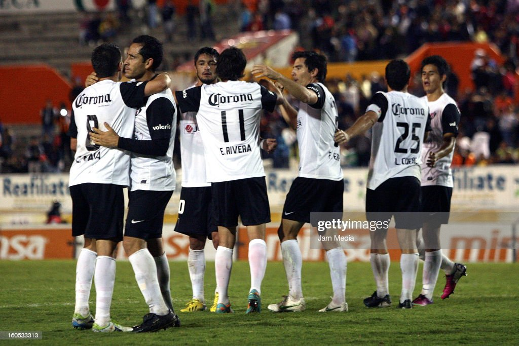 Players of Atlas celebrate during the Clausura 2013 Liga MX at Victor Manuel Reyna Stadium on February 01, 2013 in Tuxtla Gutierrez, Mexico.