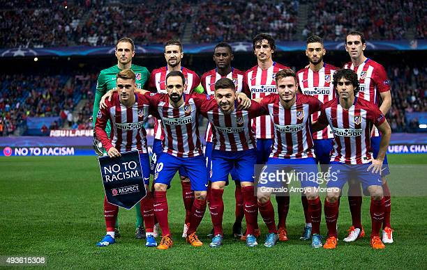Players of Atletico de Madrid line up for a team photo prior to the UEFA Champions League Group C match between Club Atletico de Madrid and FC Astana...