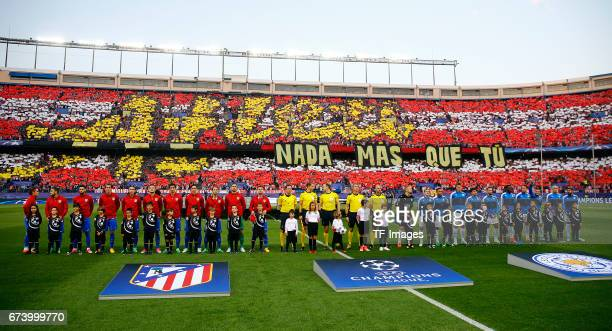 Players of Atletico Madrid and Leicester City prior the UEFA Champions League Quarter Final first leg match between Club Atletico de Madrid and...