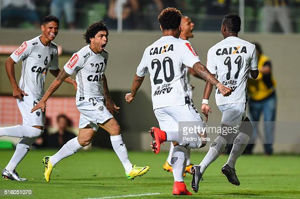 Players of Atletico MG celebrates a scored goal against Colo Colo during a match between Atletico MG and Colo Colo as part of Copa Bridgestone...