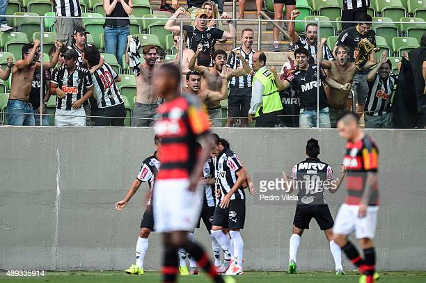 Players of Atletico MG celebrates a scored goal against Flamengo during a match between Atletico MG and Flamengo as part of Brasileirao Series A 2015...