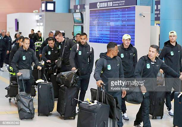 Players of Atletico Nacional arrive at Kansai International Airport in Osaka Prefecture on Dec 10 for the Club World Cup in Japan The Colombian team...
