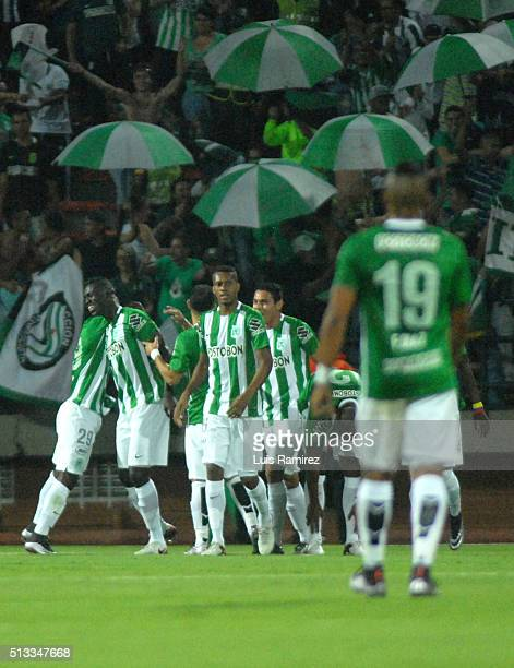 Players of Atletico Nacional celebrate a goal of their team during a group stage match between Atletico Nacional and Sporting Cristal as part of Copa...
