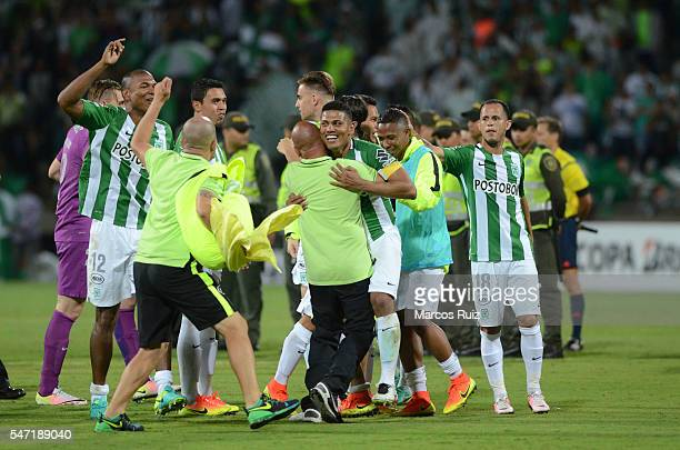 Players of Atletico Nacional celebrate after a second leg semi final match between Atletico Nacional and Sao Paulo as part of Copa Libertadores 2016...