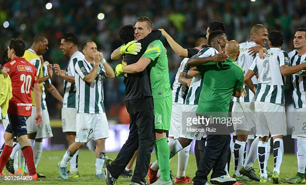 Players of Atletico Nacional celebrate after winning a second leg match between Atletico Nacional and Independiente Medellin as part of Semi Finals...