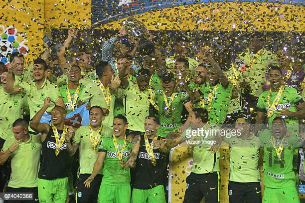Players of Atletico Nacional celebrate their championship after winning the Final match between Junior and Atletico Nacional as Part of the Copa...