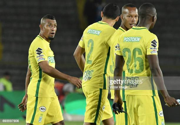 Players of Atletico Nacional leave the field after the Semi Finals first leg match between Millonarios and Atletico Nacional as part of Liga Aguila I...