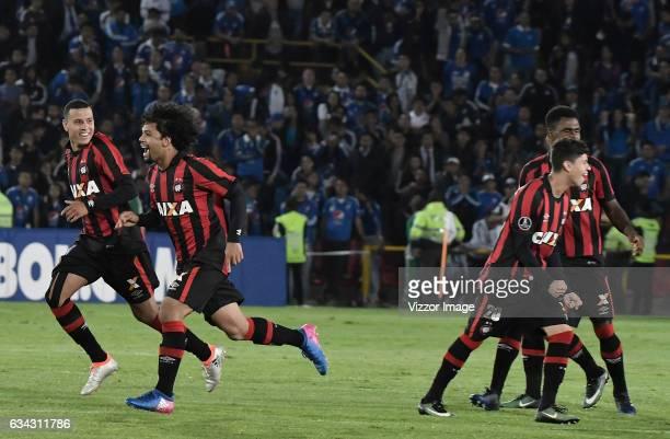 Players of Atletico Paranaense celebrate after a match between Millonarios and Atletico Paranaense as part of Copa Libertadores 2017 at Nemesio...