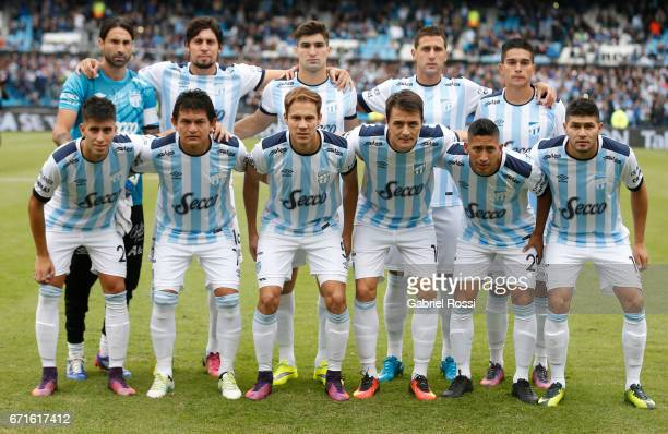 Players of Atletico Tuchman pose for a photo prior the match between Racing and Atletico de Tucuman as part of Torneo Primera Division 2016/17 at...