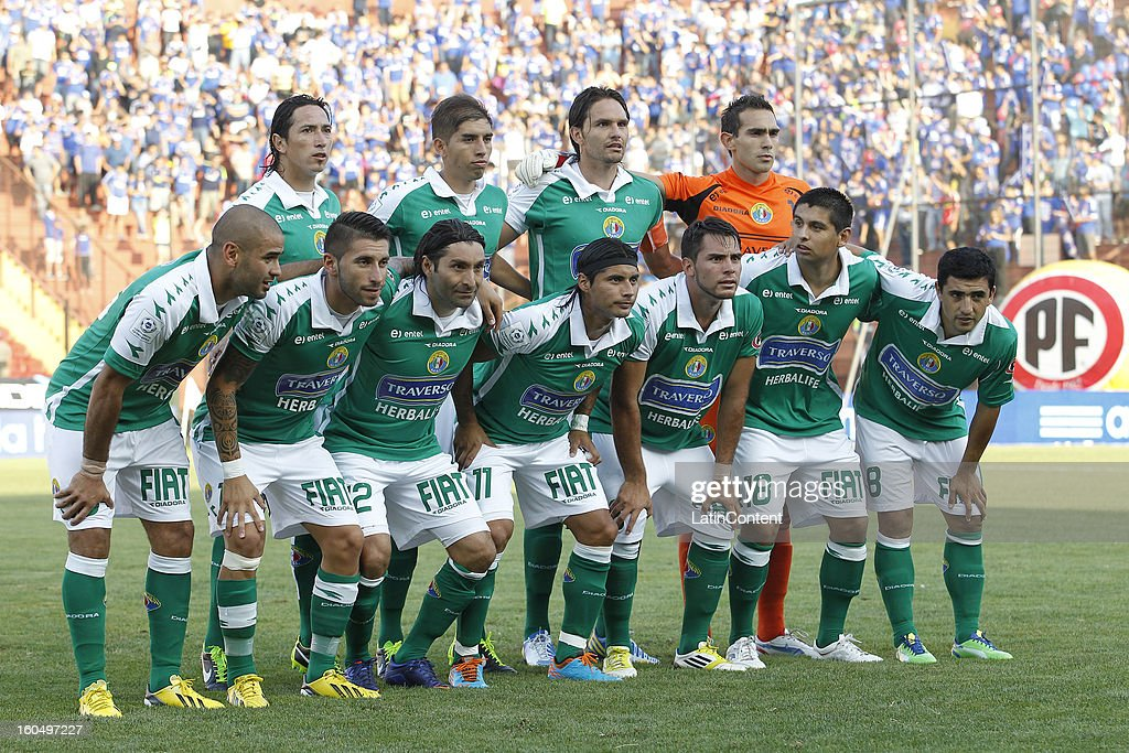 Players of Audax Italiano before a match between Universidad de Chile and Audax Italiano as part of the Torneo Transición 2013 at Santa Laura Stadium on February 01, 2013 in Santiago, Chile.