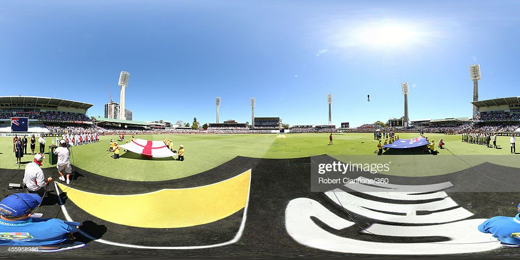 Players of Australia and England line up ahead of day one of the Third Ashes Test Match between Australia and England at WACA on December 13 2013 in...