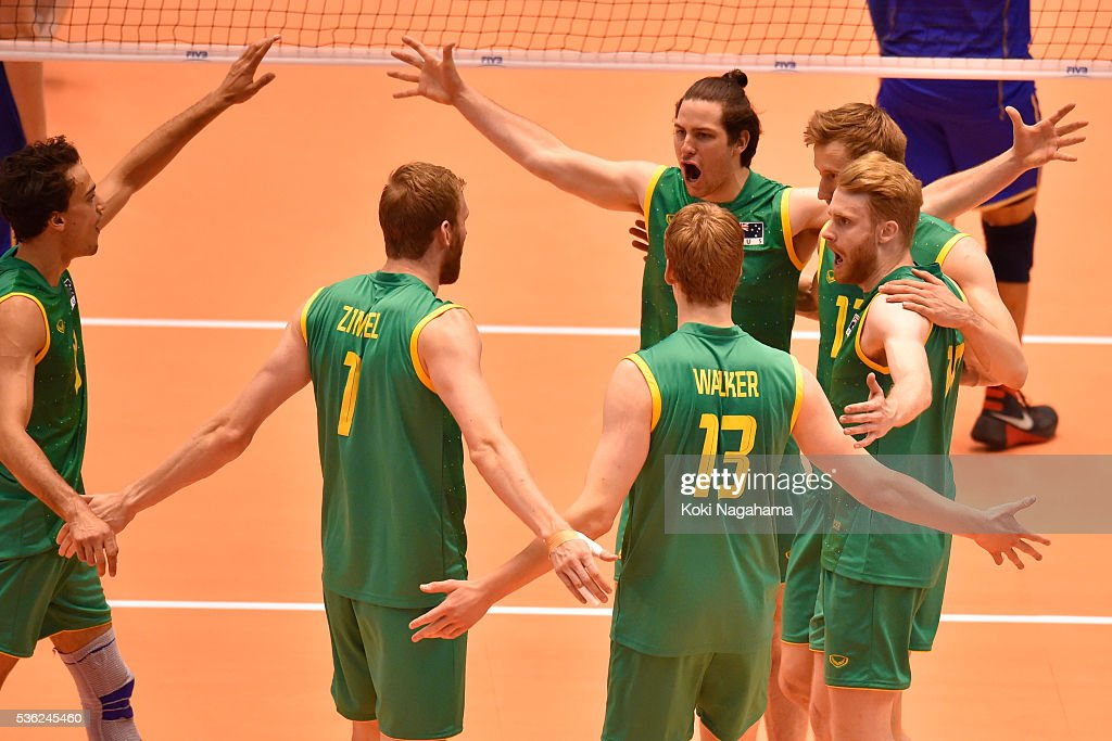 Players of Australia celebrate a point during the Men's World Olympic Qualification game between France and Australia at Tokyo Metropolitan Gymnasium on June 1, 2016 in Tokyo, Japan.