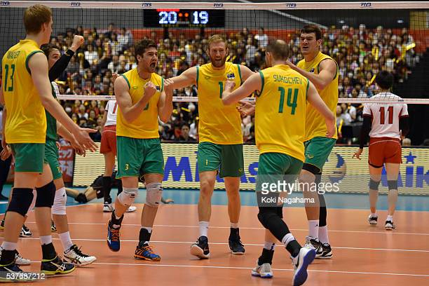 Players of Australia celebrate a point during the Men's World Olympic Qualification game between Australia and Japan at Tokyo Metropolitan Gymnasium...