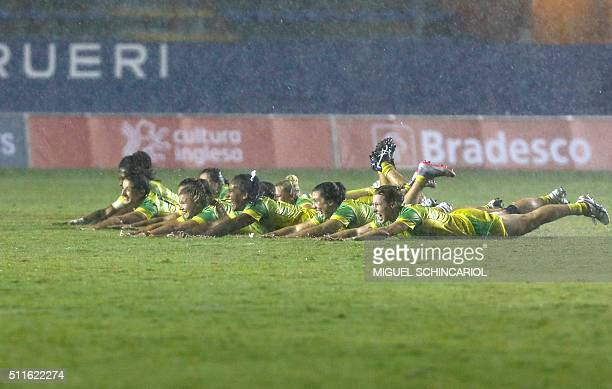 Players of Australia celebrate after winning their World Rugby Women's Sevens Series match against Canada in Barueri some 30 km from Sao Paulo Brazil...
