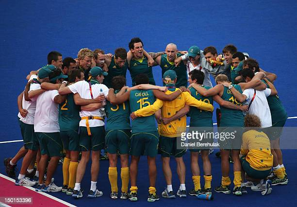 Players of Australia celebrate their victory against Great Britain after the Men's Hockey bronze medal match on Day 15 of the London 2012 Olympic...