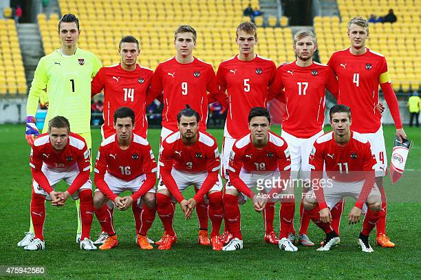 Players of Austria pose for a team photo prior to the FIFA U20 World Cup New Zealand 2015 Group B match between Austria and Argentina at Wellington...