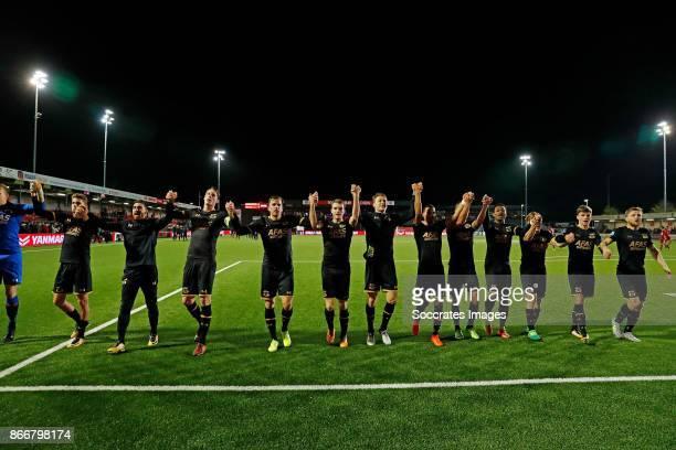 Players of AZ Almaar celebrate the victory Guus Til of AZ Alkmaar lireza Jahanbakhsh of AZ Alkmaar Wout Weghorst of AZ Alkmaar Jonas Svensson of AZ...